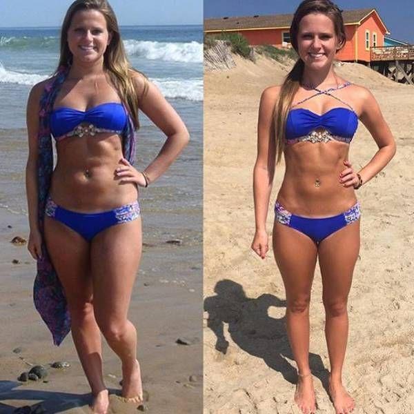 Девушки хвастаются результатами занятий фитнесом