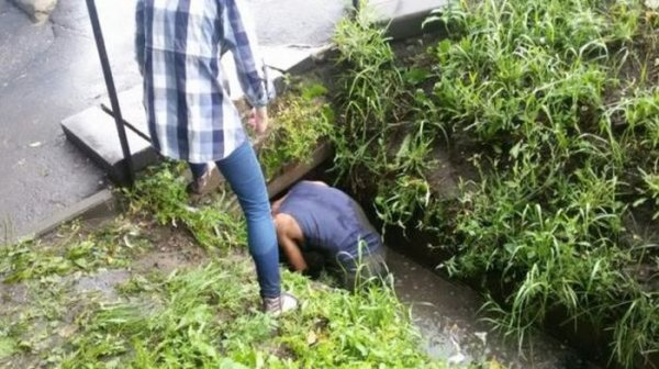В Омске мужчина залез в сточную канаву, чтобы спасти тонущих щенков