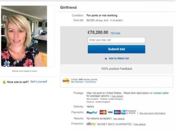 Парень решил продать свою девушку на eBay