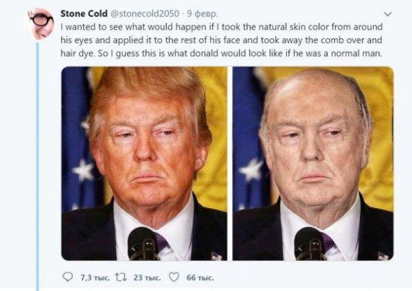 «Лысый» Трамп без загара взрывает сеть